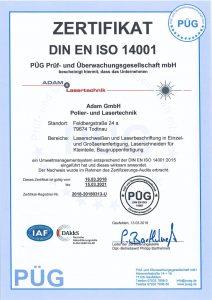 Prüfzertifikat Adam Lasertechnik GmbH DIN ISO 14001