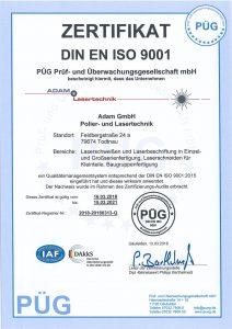 Prüfzertifikat Adam Lasertechnik GmbH DIN ISO 9001