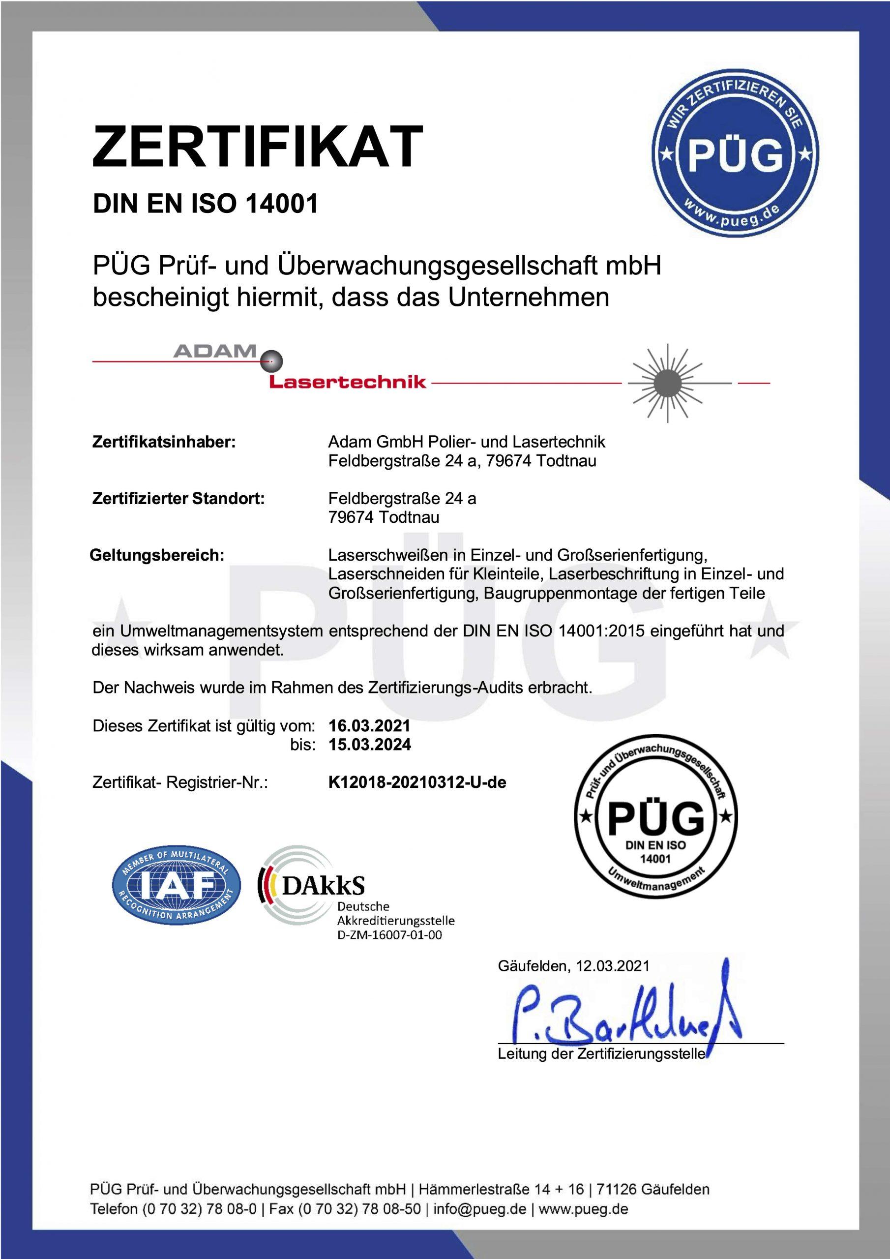 Adam Lasertechnik DIN ISO 14001 Prüfzertifikat von 2018